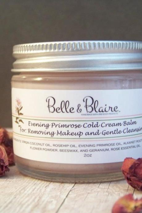 Evening Primrose Cold Cream Face Balm- Gift For Women- Geranium Rose- Gentle Facial Cleanser- Makeup Remover- 2oz