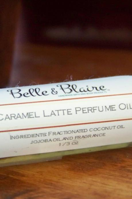 Caramel Latte Perfume Oil- Espresso, Vanilla Bean, Caramel, Smoky Incense- Roll On Perfume
