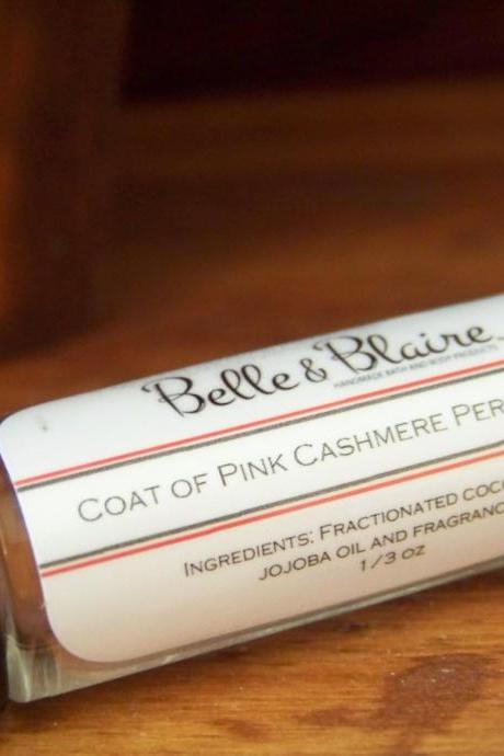 Coat of Pink Cashmere Perfume Oil- Vanilla, Pink Berries, Jasmine, Sandalwood, Amber, Cocoa Butter- Roll On Perfume