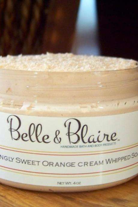 Ackingly Sweet Orange Cream Whipped Soap/Sugar Scrub- Orange Sorbet, Sticky Marshmallows, Milk Chocolate