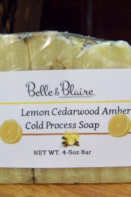 Lemon Cedarwood Amber Cold Process Soap- Lemon, cedarwood, amber, lavender, sandalwood, coriander, bergamot, musk