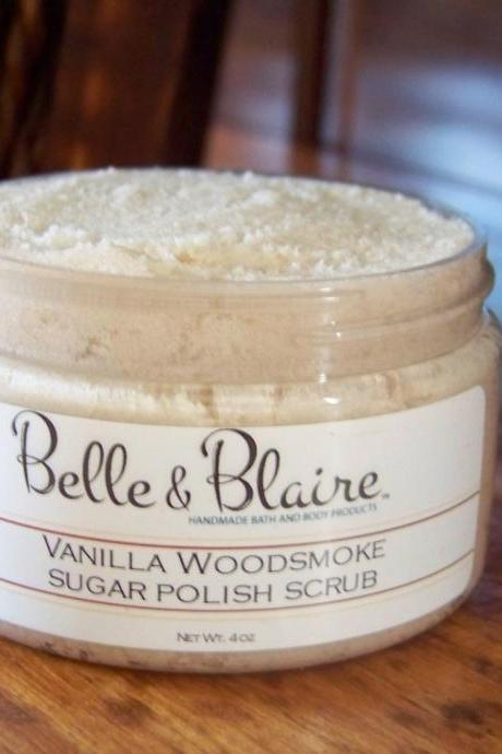 Vanilla Woodsmoke Whipped Soap/Sugar Scrub- Burning Woods, French Vanilla, Soft Lavender